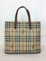 Burberry London Handbag Beige Color Check Pattern Pvc Material Used - $355.99