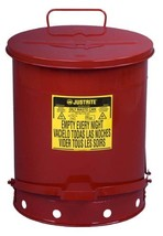 Justrite 9500 Galvanized Steel Oily Waste Safety Can with Foot Lever, 14... - $76.81
