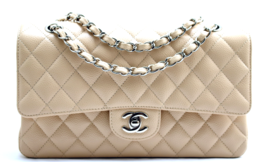 "CHANEL 10"" Lt Beige Clair Med Quilted CAVIAR Le... - $4,228.00"