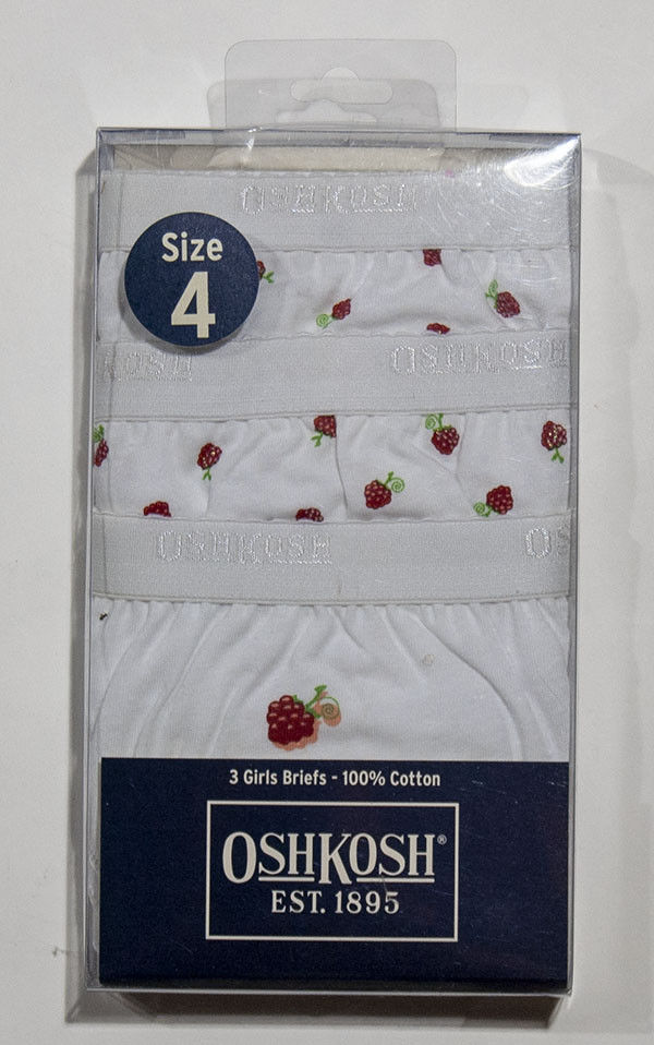 Primary image for NEW GIRLS OSHKOSH 3 PACK PANTIES BRIEFS UNDERWEAR SZ 4  RASPBERRIES NWT