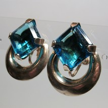 VTG BIG BLUE STONE 1940s Sterling Silver Leaf Screw Back Non Pierced Ear... - $26.71