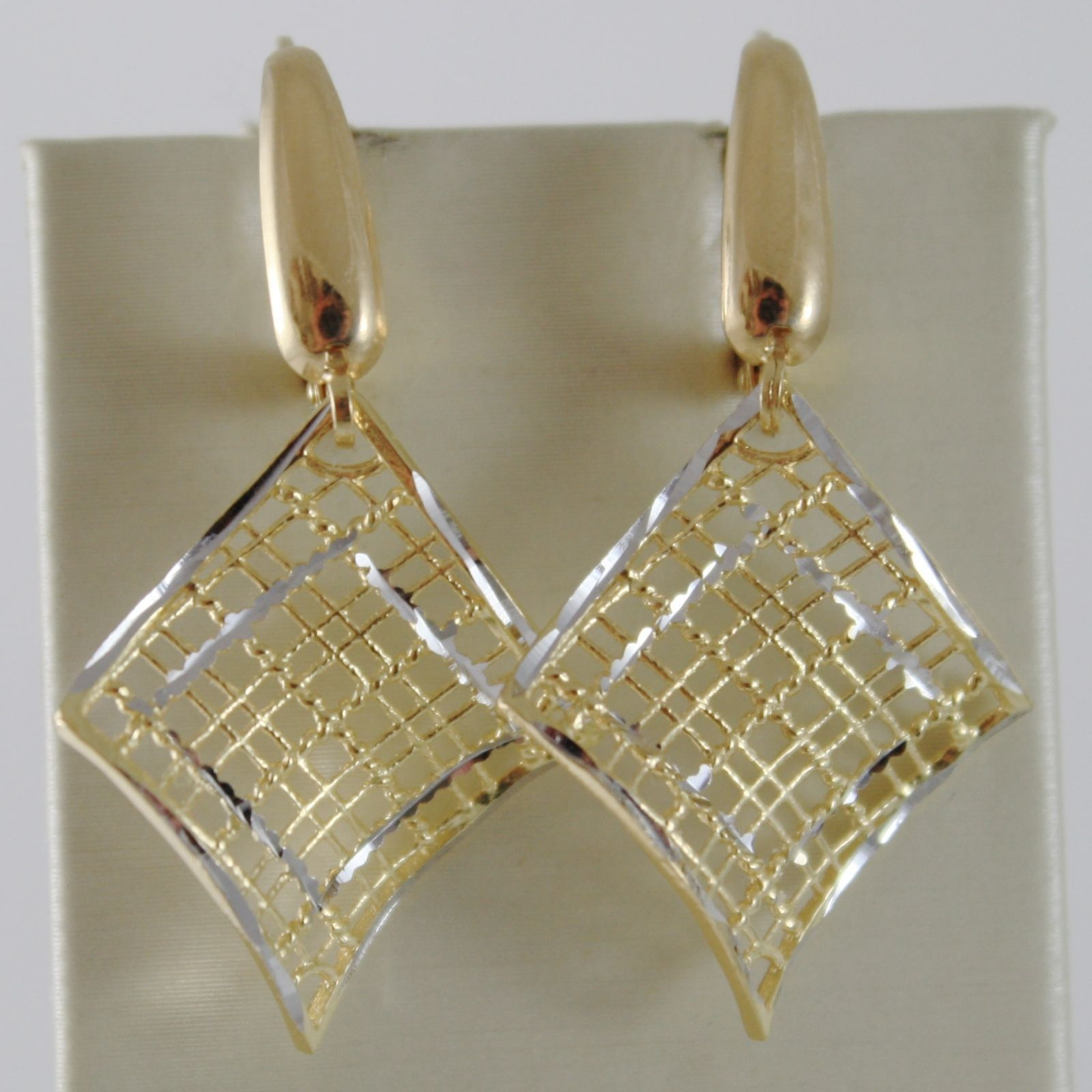 18K YELLOW WHITE GOLD PENDANT LEVERBACK EARRINGS FINELY WORKED WAVE MADE ITALY
