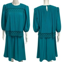 Vintage 1980s Good Times Party Dress Women's Teal Lace Pleated Overlay D... - $25.73
