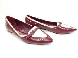 Tory Burch Red Darlene Ballet Flats Ballerina Pointy Toe Brogue Shoe 9.5 M - $108.90