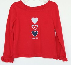 """Tommy Hilfiger Girls Red Top With Hearts """"Tommy Girl"""" Size 4/4T - $7.91"""