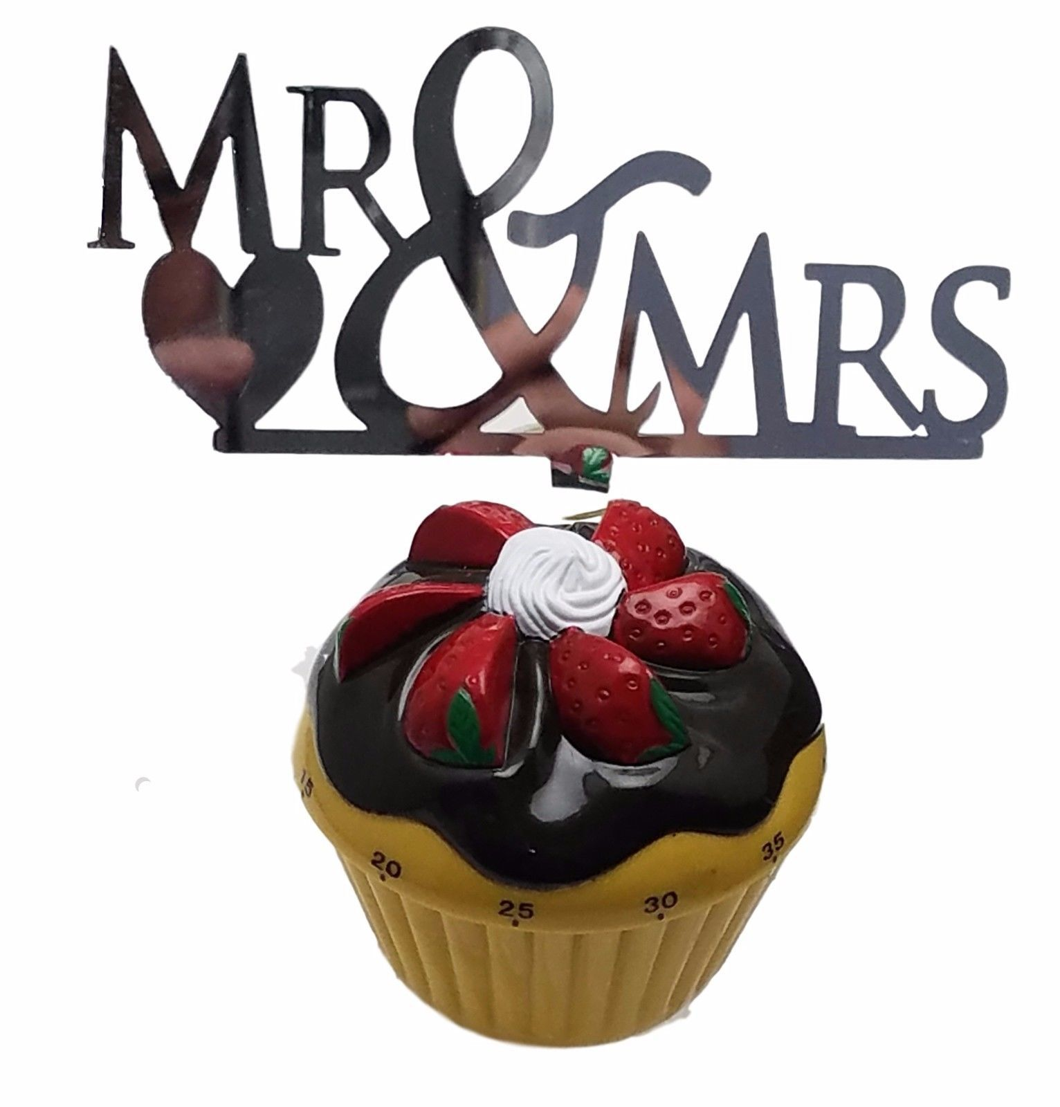 "3 pcs Mr & Mrs signs silver mirror like acrylic 5"" x 3"" cake top pick"