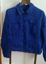 Womens Blue Denim TALBOTS blazer Jean Jacket Cotton Casual Stretch button Large - $15.79