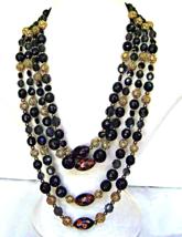 Vintage Vendome 4 Strand Necklace Black Copper Murano Bead Gold Filigree Signed - $60.00