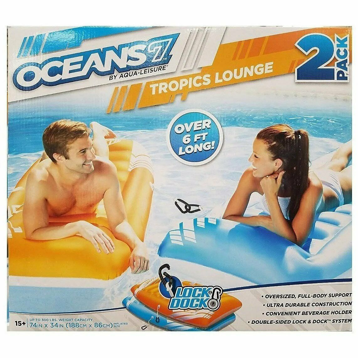 Oceans 7 By Aqua-Leisure Tropics Lounge 2 Pack 74in x 34in Supports up to 500lbs