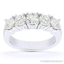 Round Cut Forever Brilliant Moissanite 14k White Gold 5-Stone Band Wedding Ring - €671,61 EUR - €1.802,31 EUR