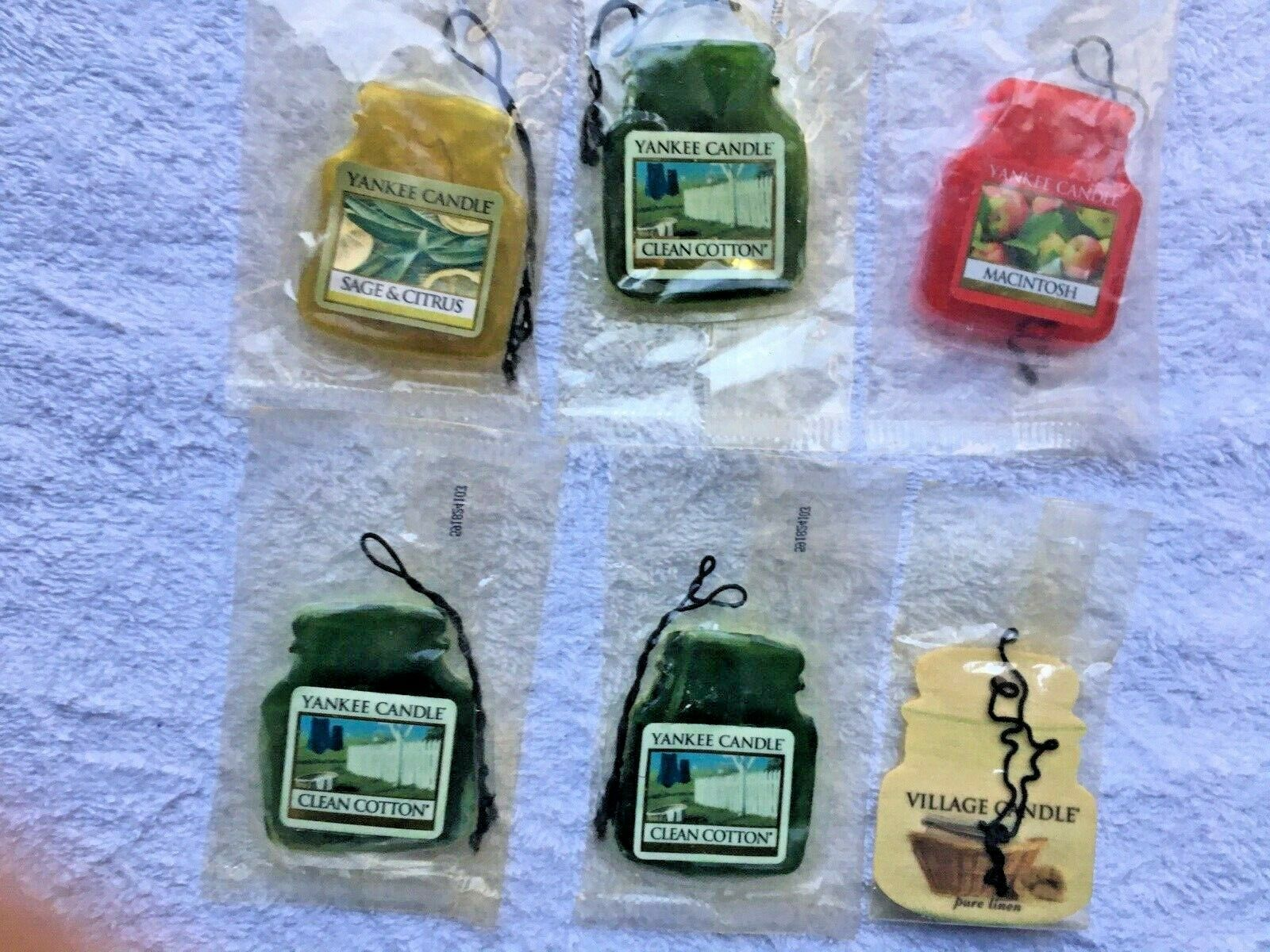 Primary image for 6 YANKEE CANDLE  SMALL CAR AIR Fresheners, sealed and new. Fast USA Shipping