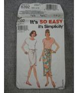 Misses Size 6-16 Mock Sarong Skirt 2 lengths & Top  Simplicity 8392  UC FF - $8.00
