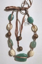 Cookie Lee Necklace Long Adjustable Boho Hippie Gypsy Carved Faceted Glass  - $14.85