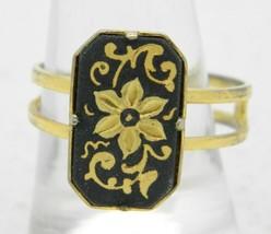 VTG Gold Tone Rectangle Flower Floral Damascene Adjustable Ring Size 6.7... - $19.80
