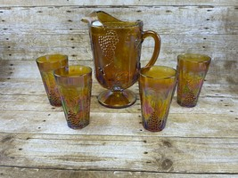 Vtg Iridescent Amber Amethyst Carnival Glass Pitcher & 4 Tumblers Grapes... - $29.95