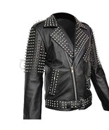 New Mens Unique Brando Full Heavy Metal Spiked Studded Belted Leather Jacket - $209.99 - $279.99