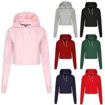 Women's Long Sleeve Plain Casual Crop Top Pullover Hooded Sweatshirt Jumper Hood