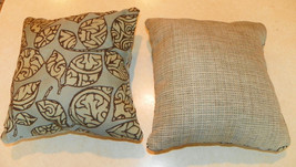 Pair of Light Blue Green Leaf Print Throw Pillows  10 x 10 - $29.95
