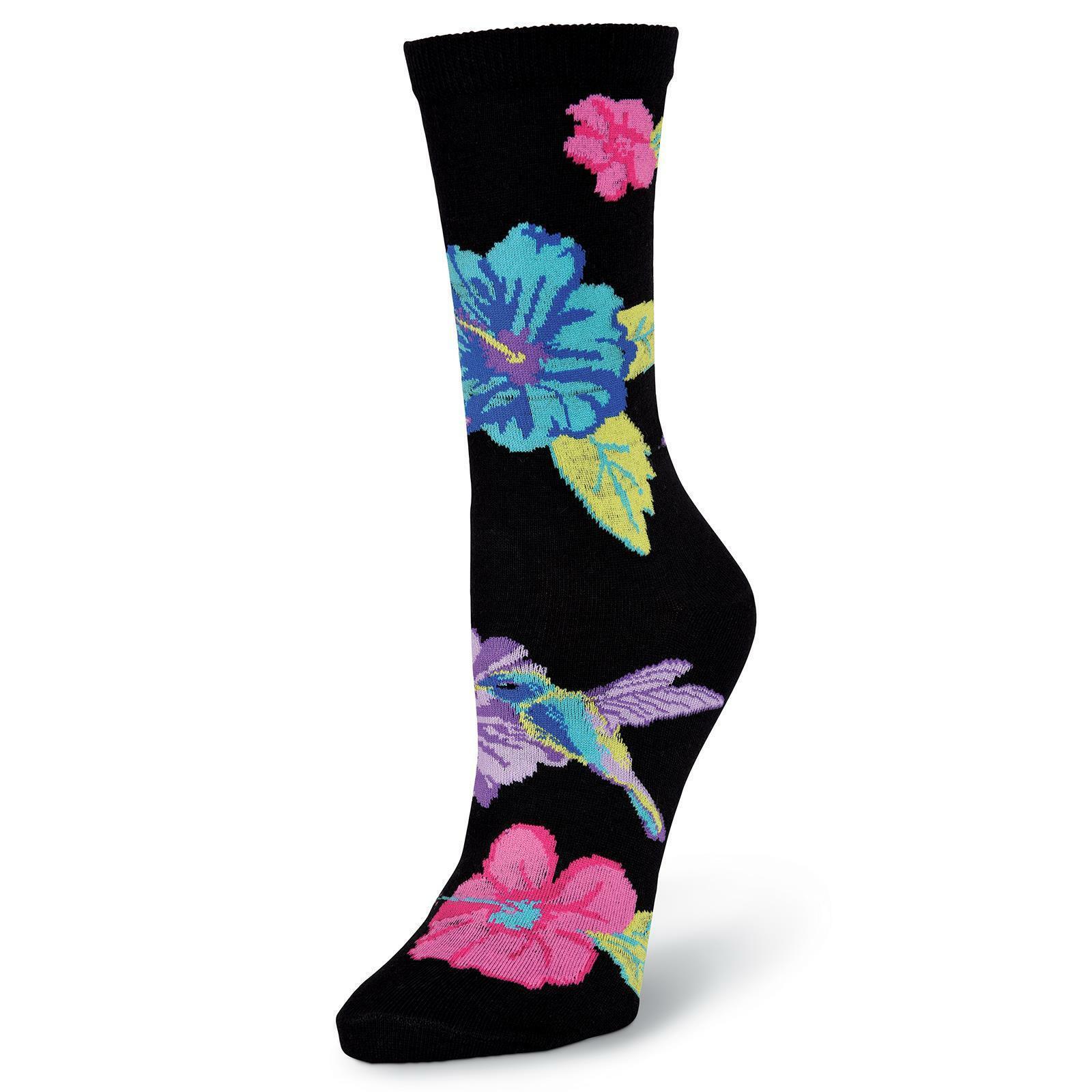 K.Bell Women's Hummingbirds Black Crew Socks fits shoe Size 4-10 Free Shipping