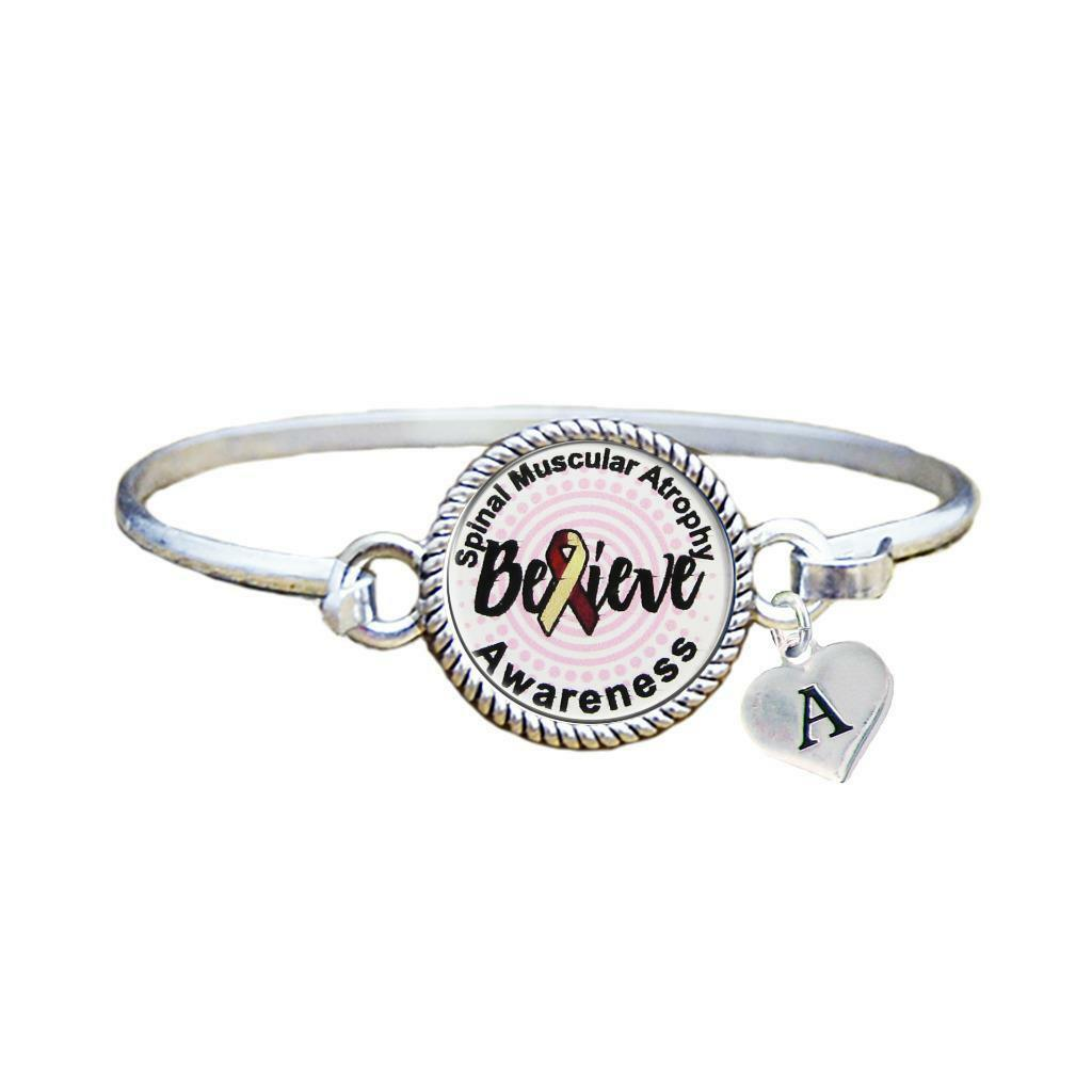 Primary image for Custom Spinal Muscular Atrophy Awareness Believe Silver Bracelet Jewelry Initial