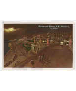 Terrace & Gardens at Night Blackpool England UK hand colored RPPC postcard - $7.92