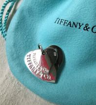 Tiffany & Co Sterling Silver DOUBLE HEART Charm Vintage Tiffany Pendant Key Fob - $128.70