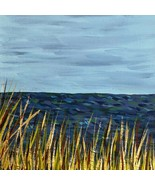 Seagrass by the Sea 8 x 8 Acrylic Painting, Peaceful Seascape Scene, Signed - $45.00
