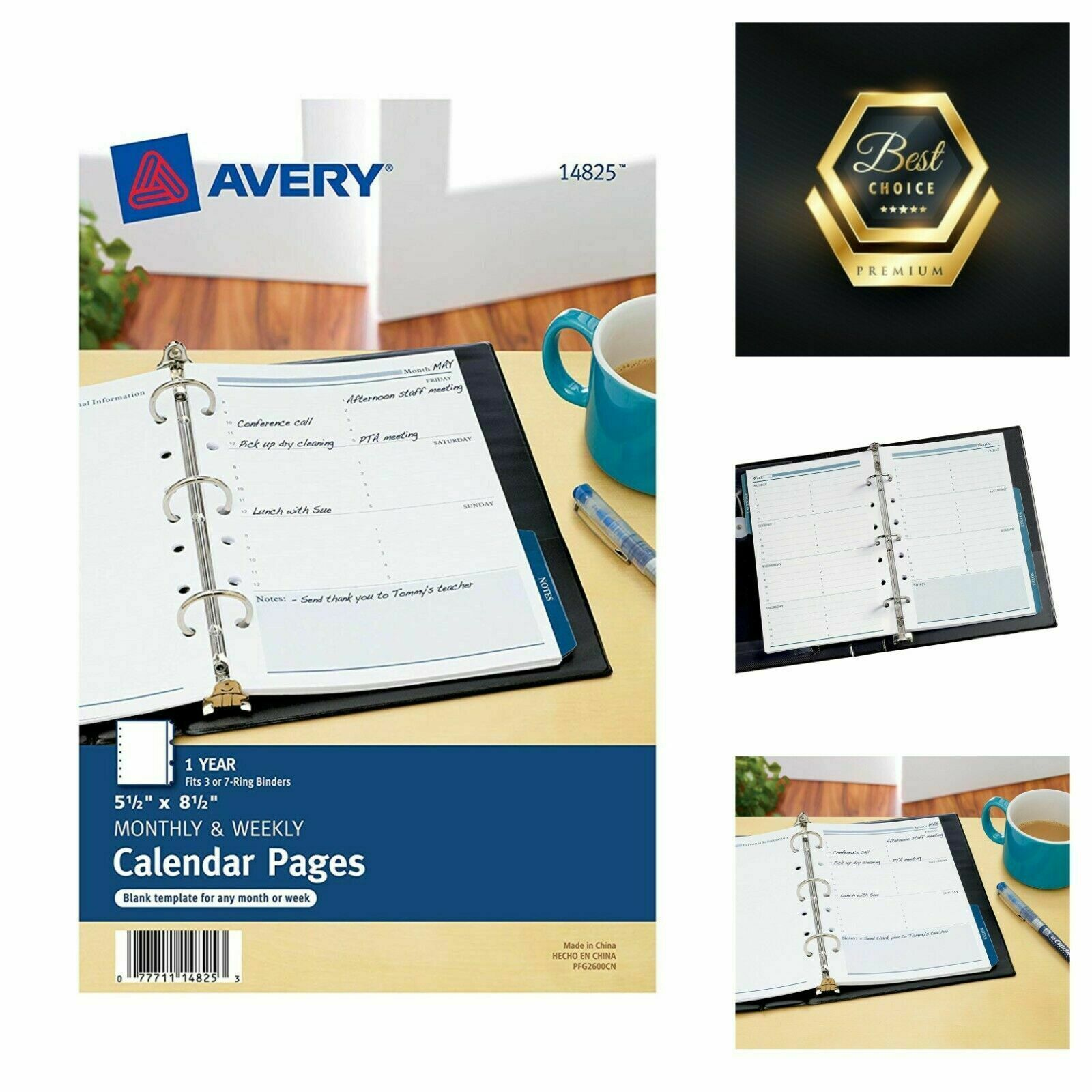 """Avery 14825 Mini Monthly and Weekly Calendar Blank Pages 5.5"""" x 8.5"""""""