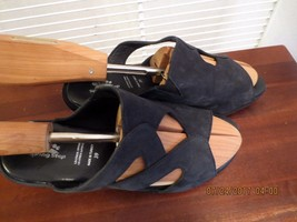 Spring Step Black Nubuck Leather Wedge Sandals Cut outs peep toe Sz 39 EUC - $18.69