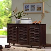 Dark Brown Finish Shoe Cabinet Wooden Storage Shelves Organizer Rack 12 Pairs - $138.59