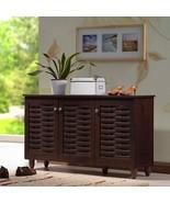 Dark Brown Finish Shoe Cabinet Wooden Storage Shelves Organizer Rack 12 ... - $138.59
