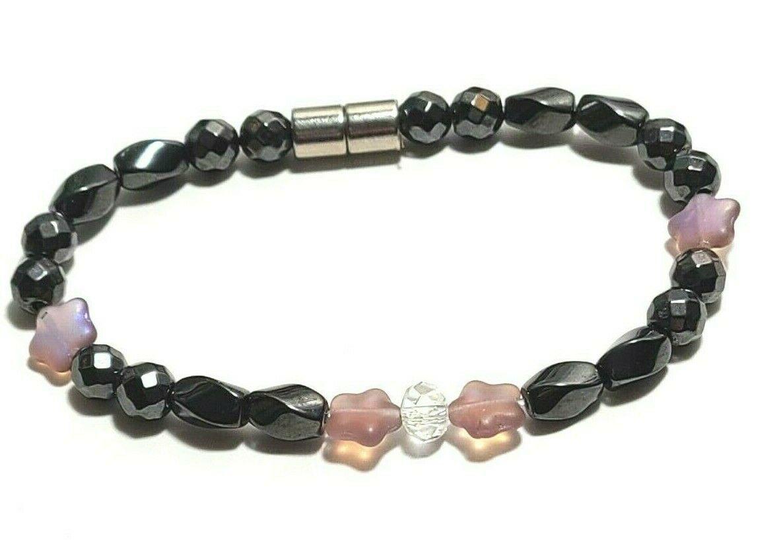 Beaded Bracelet Magnetic Hematite Clasp Single Strand   7 Inch   (MAG-023)