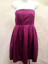 J Crew 8 Dress Strapless Magenta Purple Empire Waist Pleated Party Holiday - $32.32