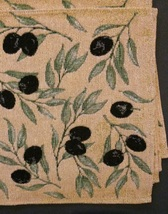 OLIVES TAPESTRY PLACEMATS Set of 4 Mediterranean Olive Branch Fabric 13x19 NEW image 3