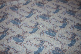 Vintage Fabric Nylon or Polyester Tan Blue Paisley Large Piece 62 x 64 - $6.89