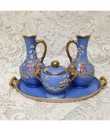 1920s, Japan, Rare, Moriage, Variant Gaudy Blue Willow 5pc Condiment Set - $118.70