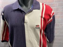 CHAPS Ralph Lauren Stripe American Flag Polo Shirt Men's Size XL Blue Re... - $24.74