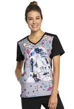 R2D2 Cherokee Tooniforms Star Wars V Neck Scrub Top TF622 SREE - $13.97+