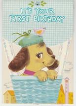 Vintage Birthday Card Hound Puppy Dog in Basket 1960's Forget Me Not - $8.90
