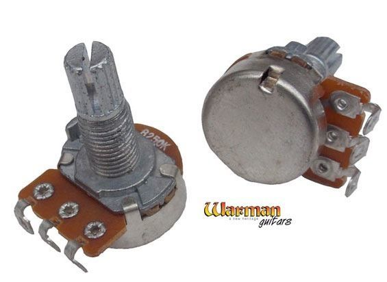 New B250k guitar tone control potentiometer, 2 mounting nuts and 1 washer
