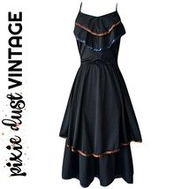Vintage Dress Ruffles 1970s Ruffled Black Layers Layered Disco Boho Size... - $56.81