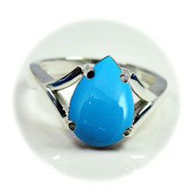 Natural Turquoise Gemstone Sterling Silver Birthstone Rings Pear Shape S... - $16.41