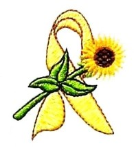 Yellow Ribbon Sunflower T-Shirt L White Liver Bladder Cancer Spina Bifid... - $21.31