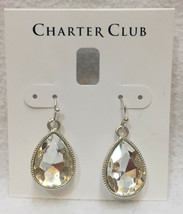 Earrings Charter Club Tear Drop Crystal Glass Faceted Stone Dangling Silver Tone - $9.89