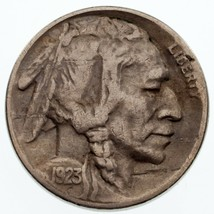 1923-S 5C Buffalo Nickel VF Condition, Natural Color, Full 4-Digit Date - $79.19