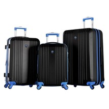 Black Blue 3-Piece Expandable Lightweight Hard Case Plastic Luggage Set ... - $346.49
