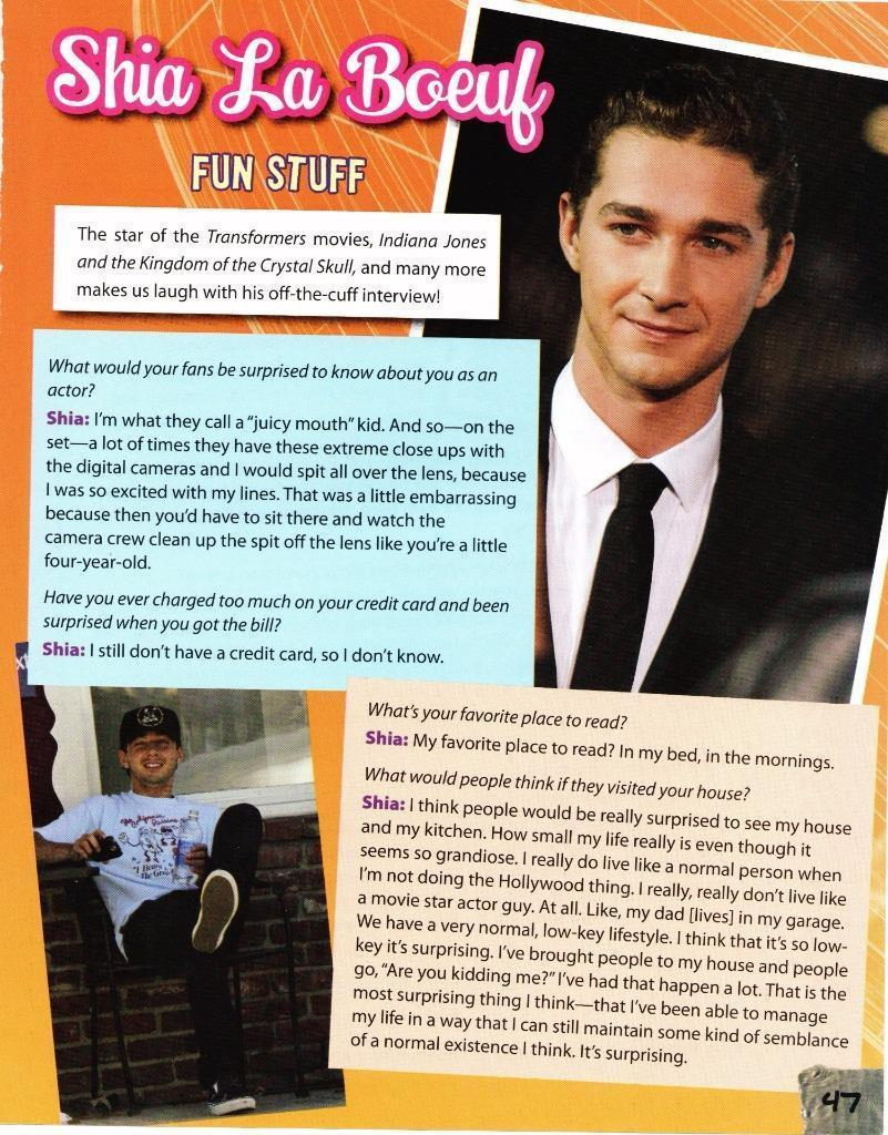 Shia La Boeuf teen magazine pinup clipping  Teen Beat Tiger Beat Transformers