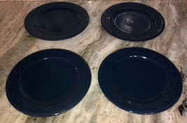 "Royal Norfolk Royal Blue 7 1/2""Stoneware Dinnerware Saucer Plates Set Of... - $29.58"