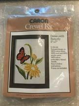 Vintage Caron Hallmark Design Collection Daisies Butterfly Crewel Kit 6345 1977 - $12.71