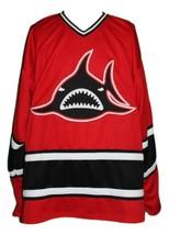 Custom Name # Los Angeles Sharks Retro Hockey Jersey New Red Niekamp #3 Any Size image 1